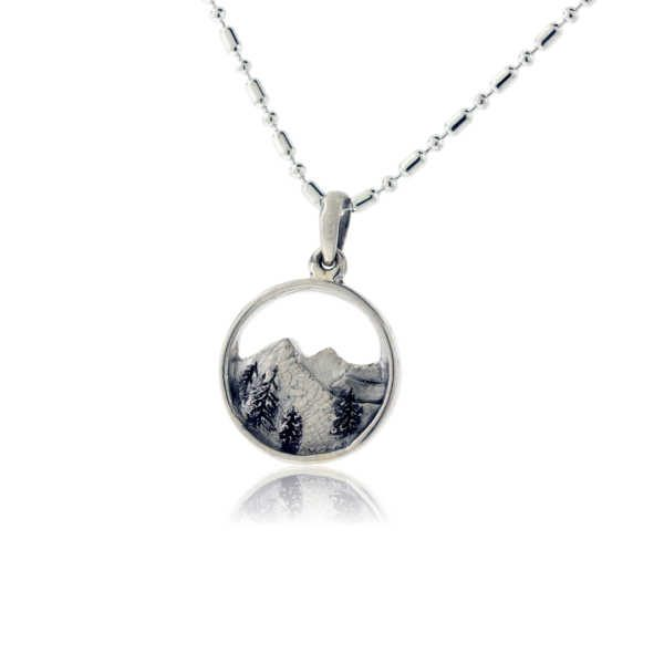 Round Sterling Silver Mountain Charm
