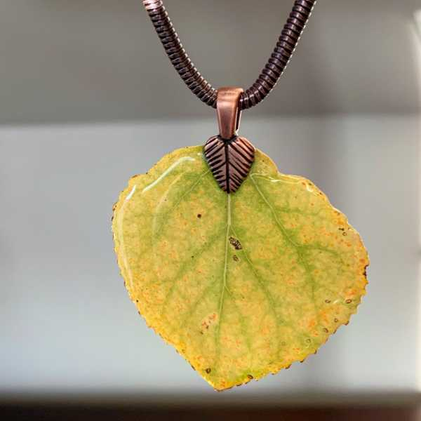 Yellow Aspen Leaf on Antiqued Copper Necklace