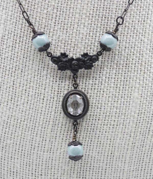Victorian Art Nouveau Blue Necklace 50 1