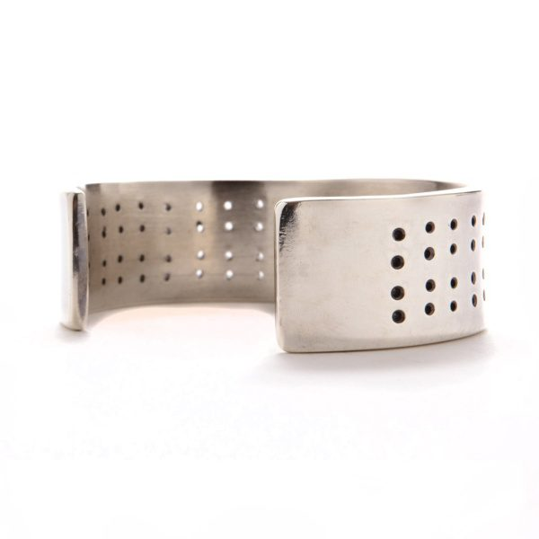 Solid Silver Punched Cuff 3