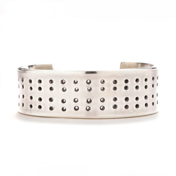 Solid Silver Punched Cuff